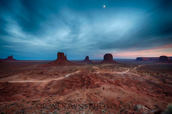 Monument valley after dark